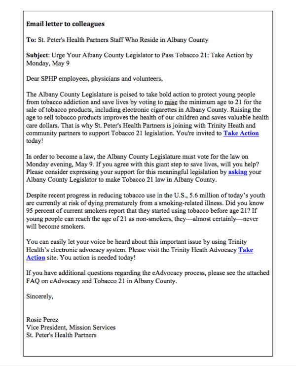 Trinity Health Advocacy Email Example