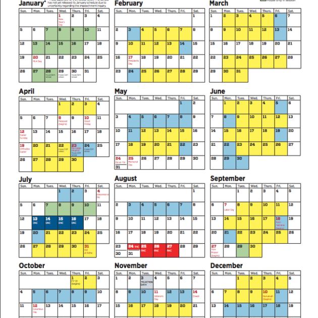 Congressional Calendar 2021 The 2020 Congressional Calendar | FiscalNote